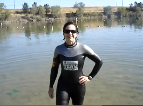 Alexa in her Team in Training Wetsuit
