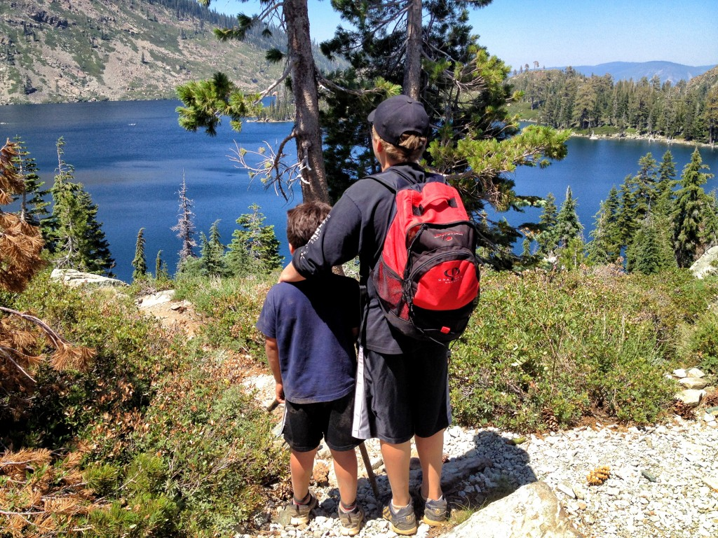 Brothers (my boys) looking out at Long Lake in Graeagle/Plumas National Forest