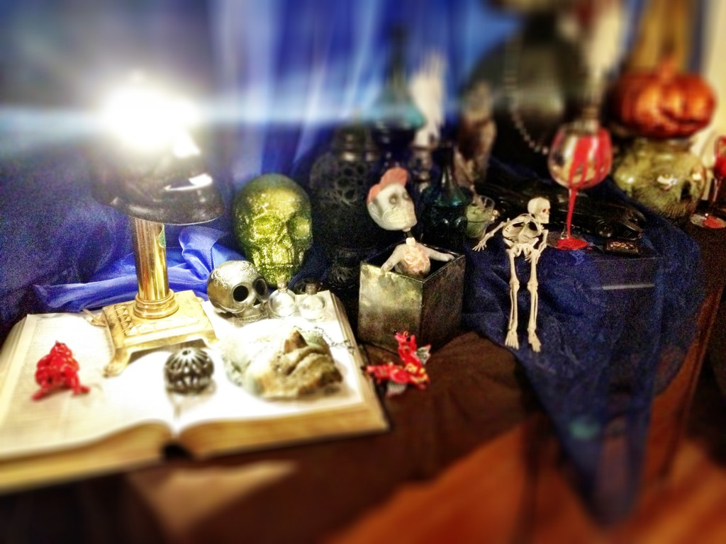 Halloween Decoration Display from Found Objects