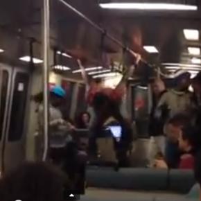 Break dance buskers storm BART train