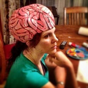 DIY Brain Hat Halloween Costume (AKA thinking cap or alien brain)