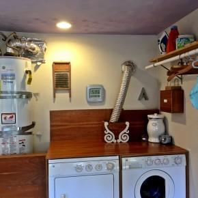 DIY Pinterest-inspired laundry counter from an old bookshelf!
