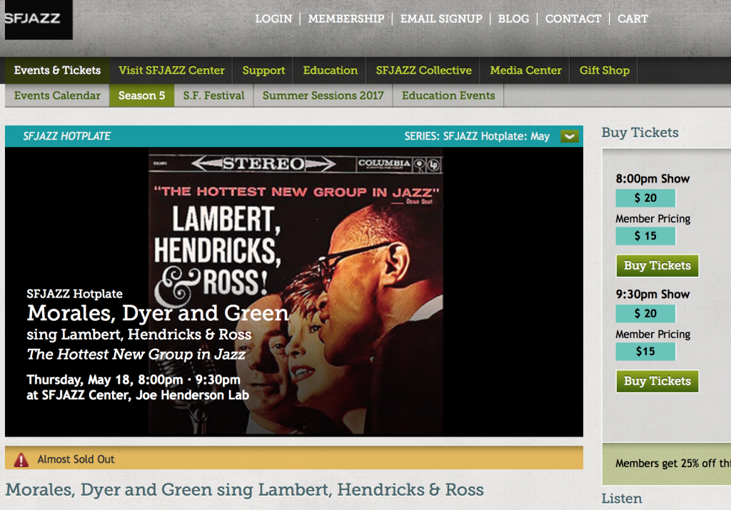 Morales Dyer and Green sing Lambert, Hendricks and Ross SFJAZZ