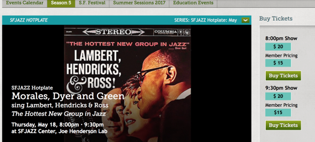 Our SFJAZZ 5/18 8 pm show is sold out! Tickets still available for 9:30 pm!