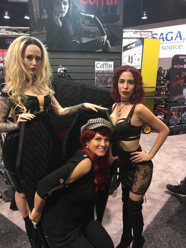 Booth babes and Alexa Morales at NAMM 2018